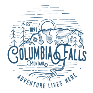 Columbia Falls Adventure Lives Here Logo